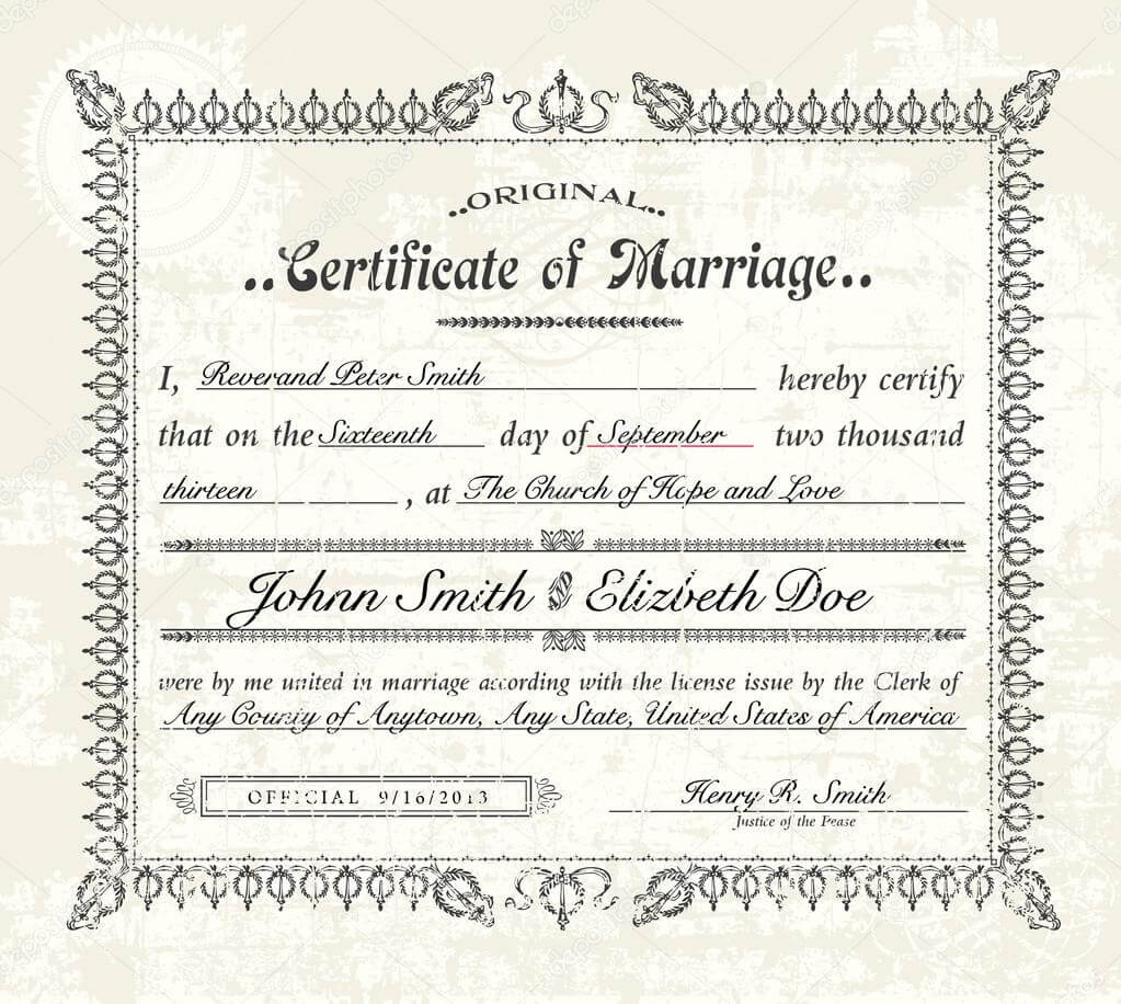 008 Template Ideas Depositphotos 68458319 Stock Illustration Regarding Blank Marriage Certificate Template