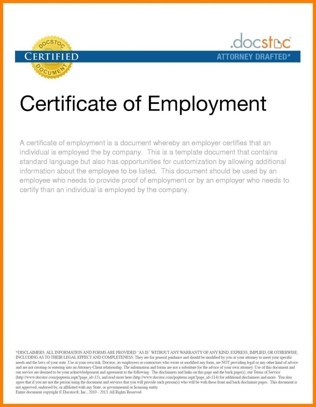 016 Sample Certificate Of Employment Certificates Stunning Regarding Employee Certificate Of Service Template