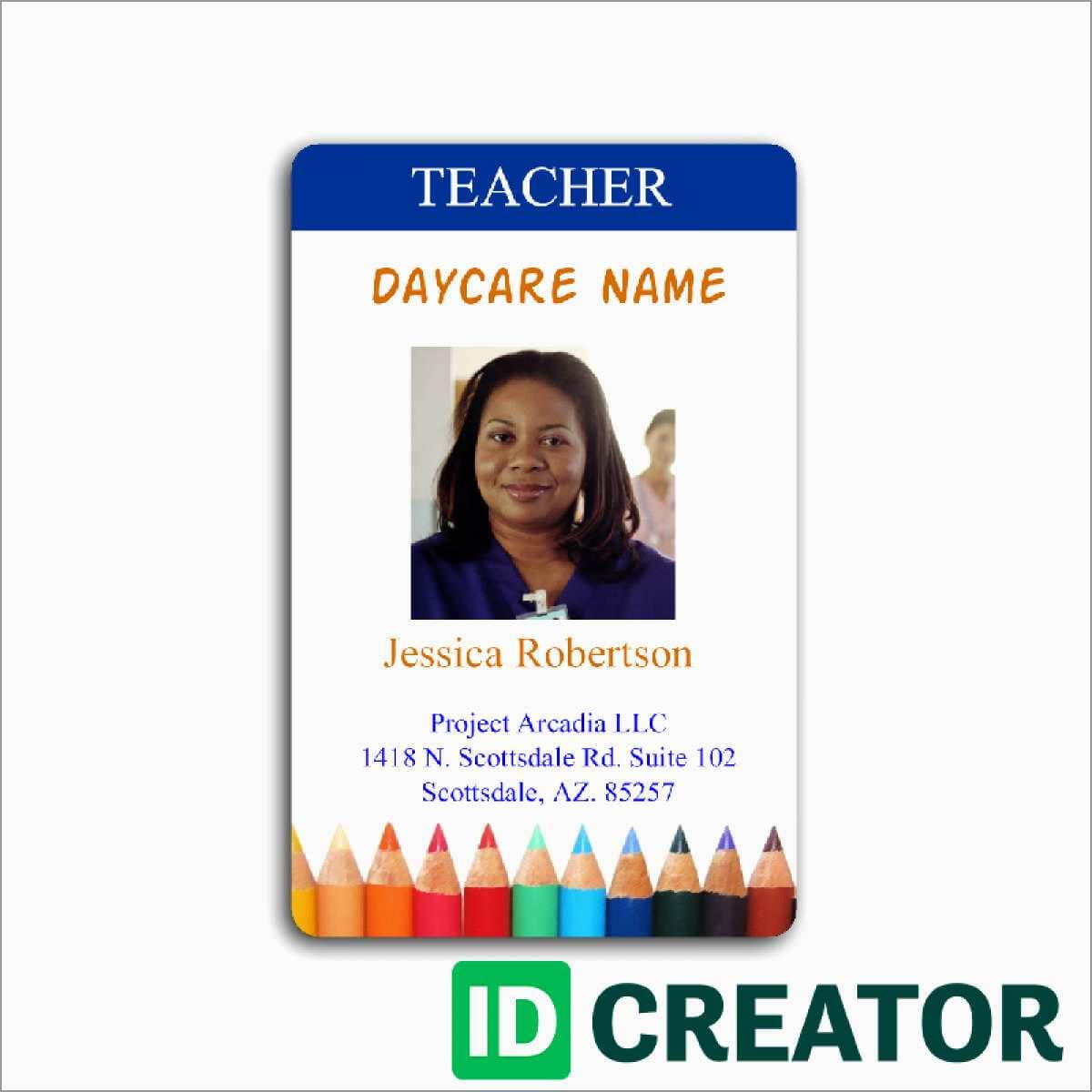 023 Teacher Id Card Photoshop Template Ideas Free Great Regarding Teacher Id Card Template