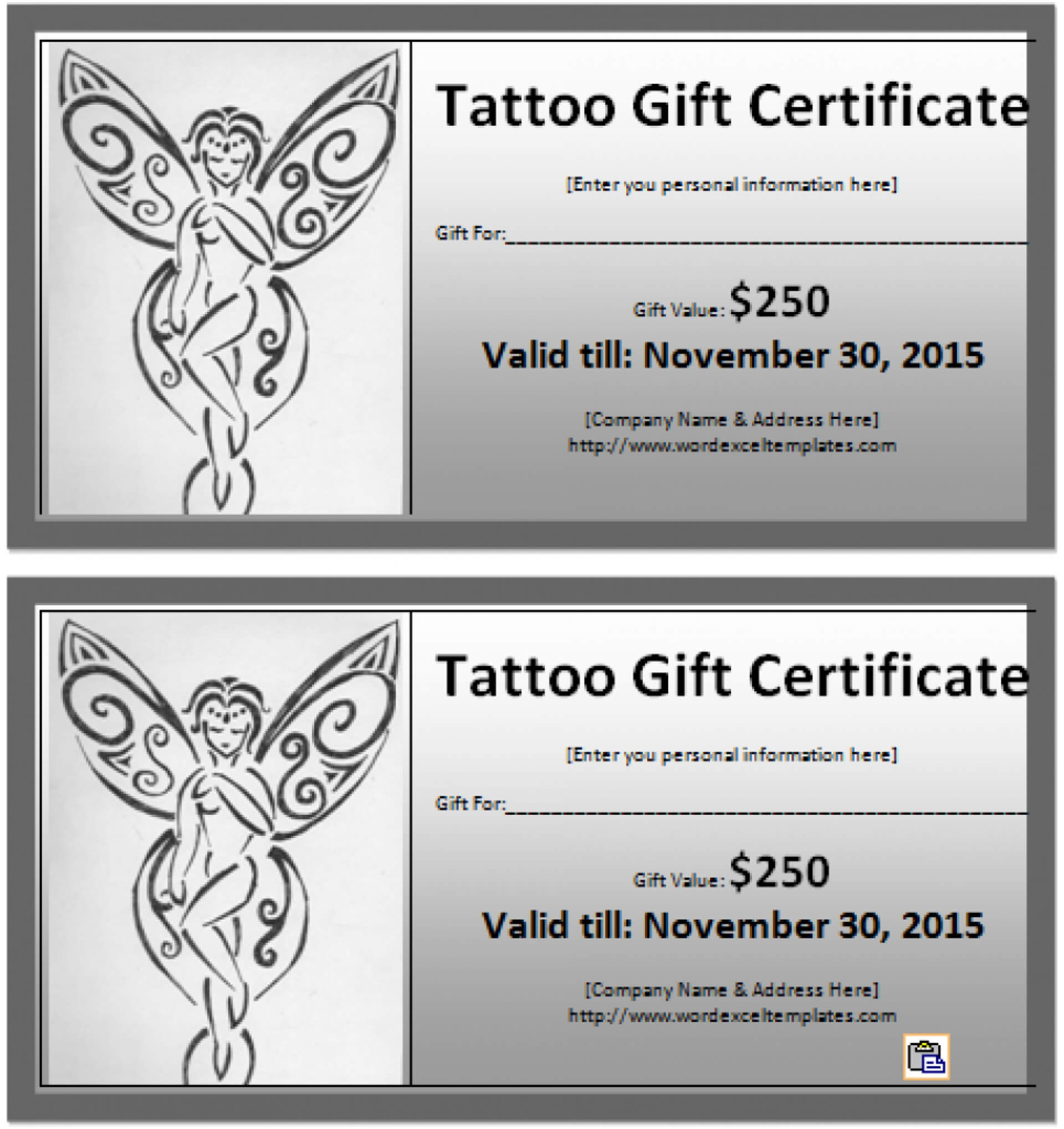 031 Free Printable Gift Certificates Restaurant Ideas Model With Regard To Tattoo Gift Certificate Template