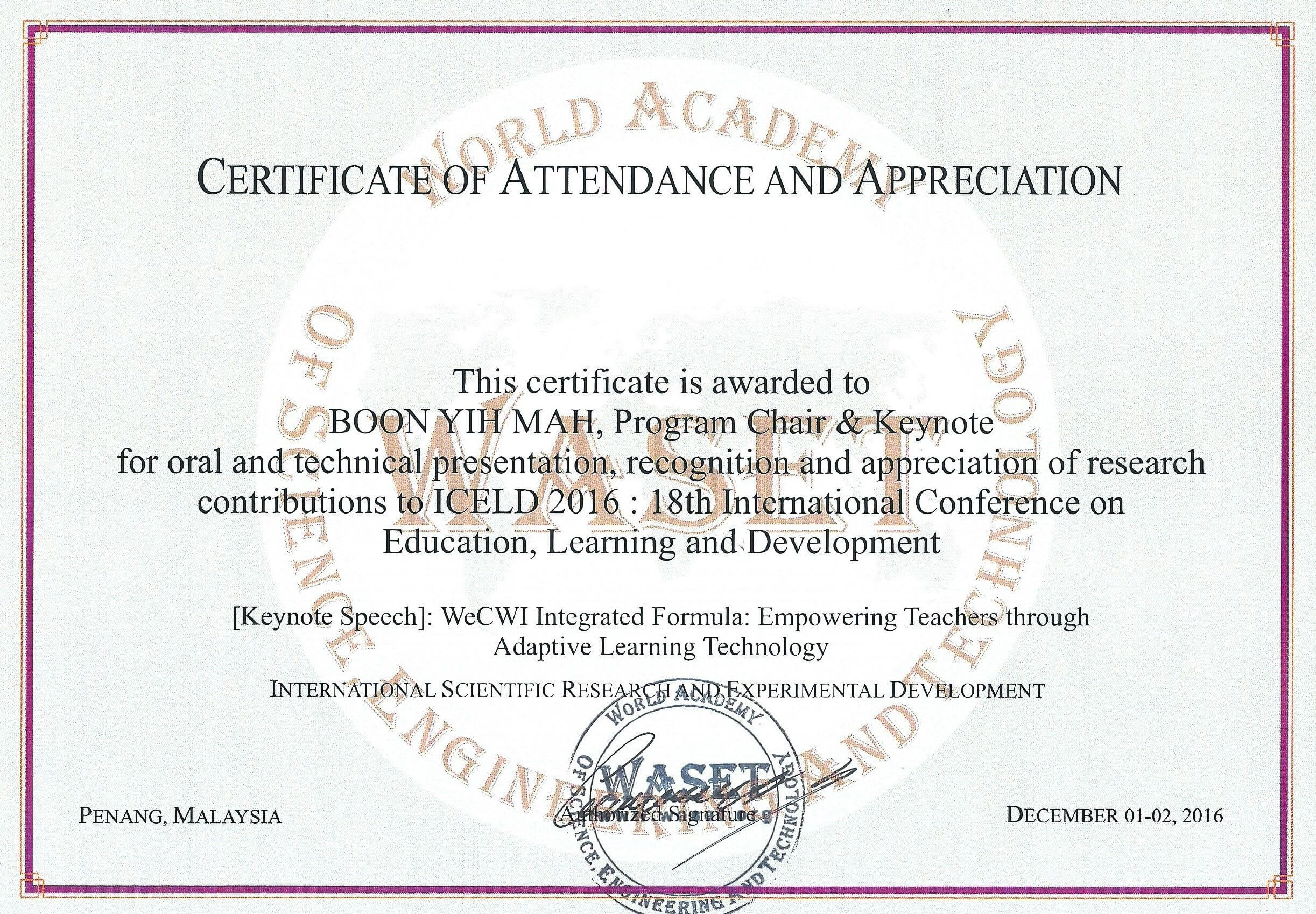 18Th International Conference On Education, Learning And Regarding International Conference Certificate Templates