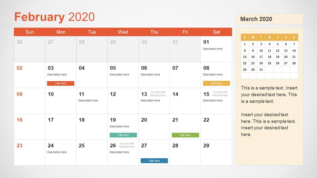2020 Calendar Powerpoint Template Pertaining To Microsoft Powerpoint Calendar Template