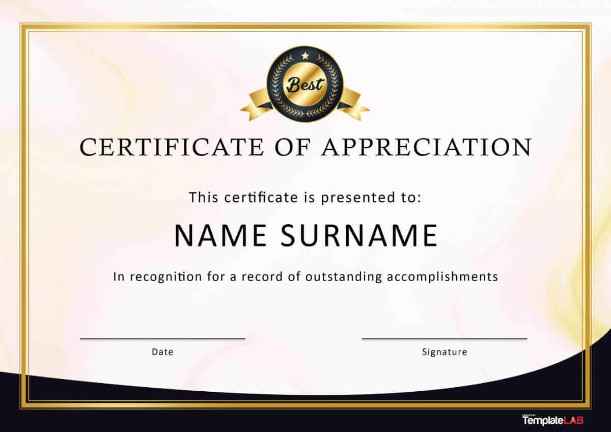 30 Free Certificate Of Appreciation Templates And Letters Throughout Template For Certificate Of Award