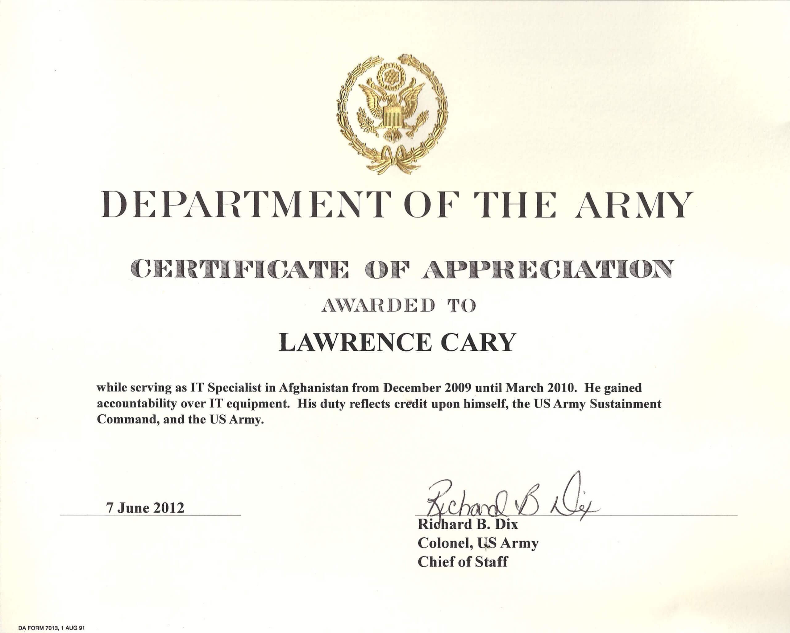 6+ Army Appreciation Certificate Templates - Pdf, Docx With Regard To Officer Promotion Certificate Template