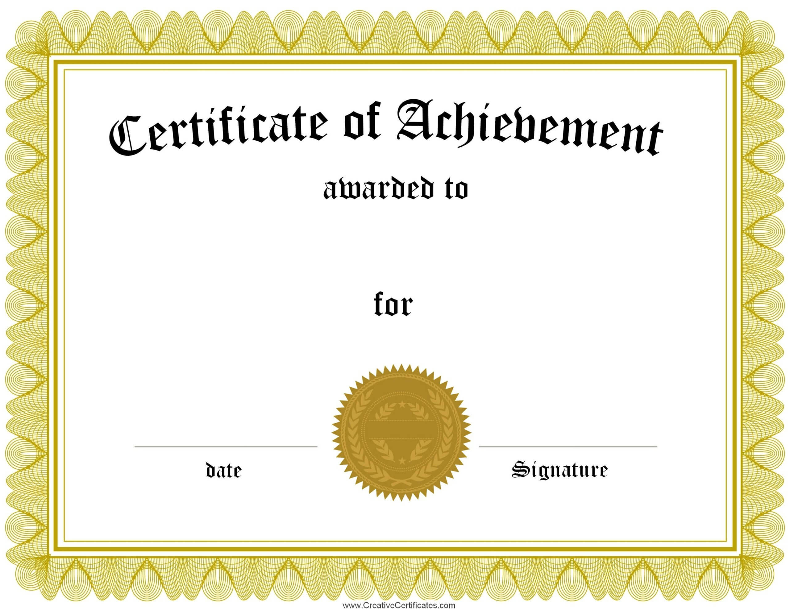 Achievement Templates Certificate Of Template Sample In Template For Certificate Of Award
