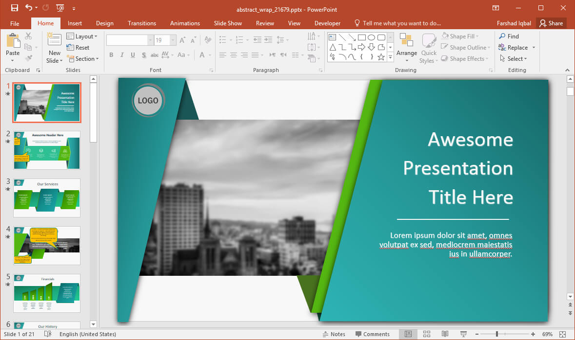 Animated Wrapping Shapes Powerpoint Template For Replace Powerpoint Template