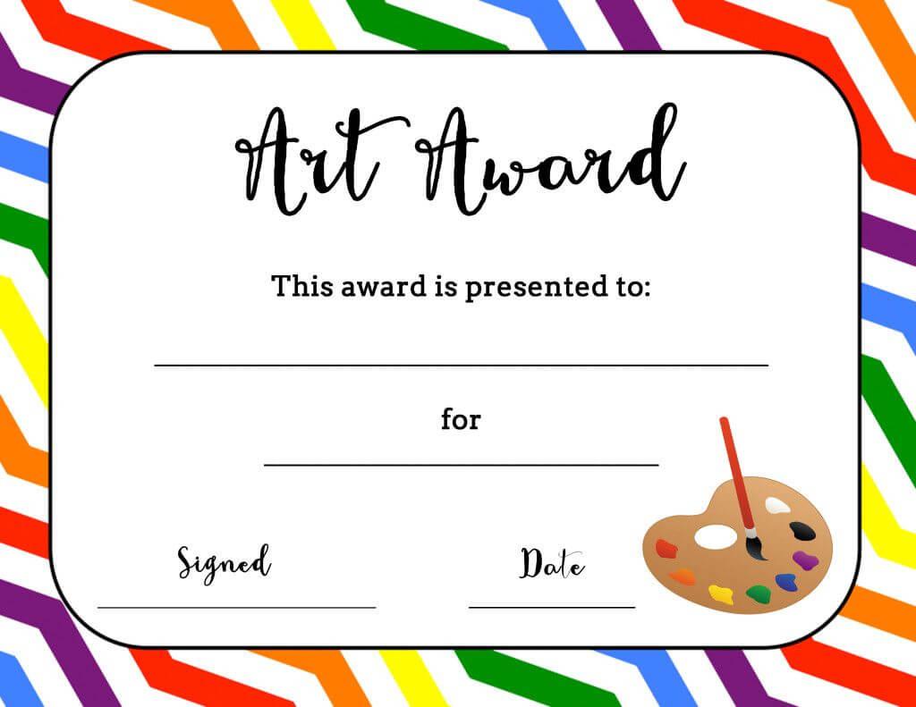 Art Award Certificate (Free Printable)   Art Certificate Inside Art Certificate Template Free