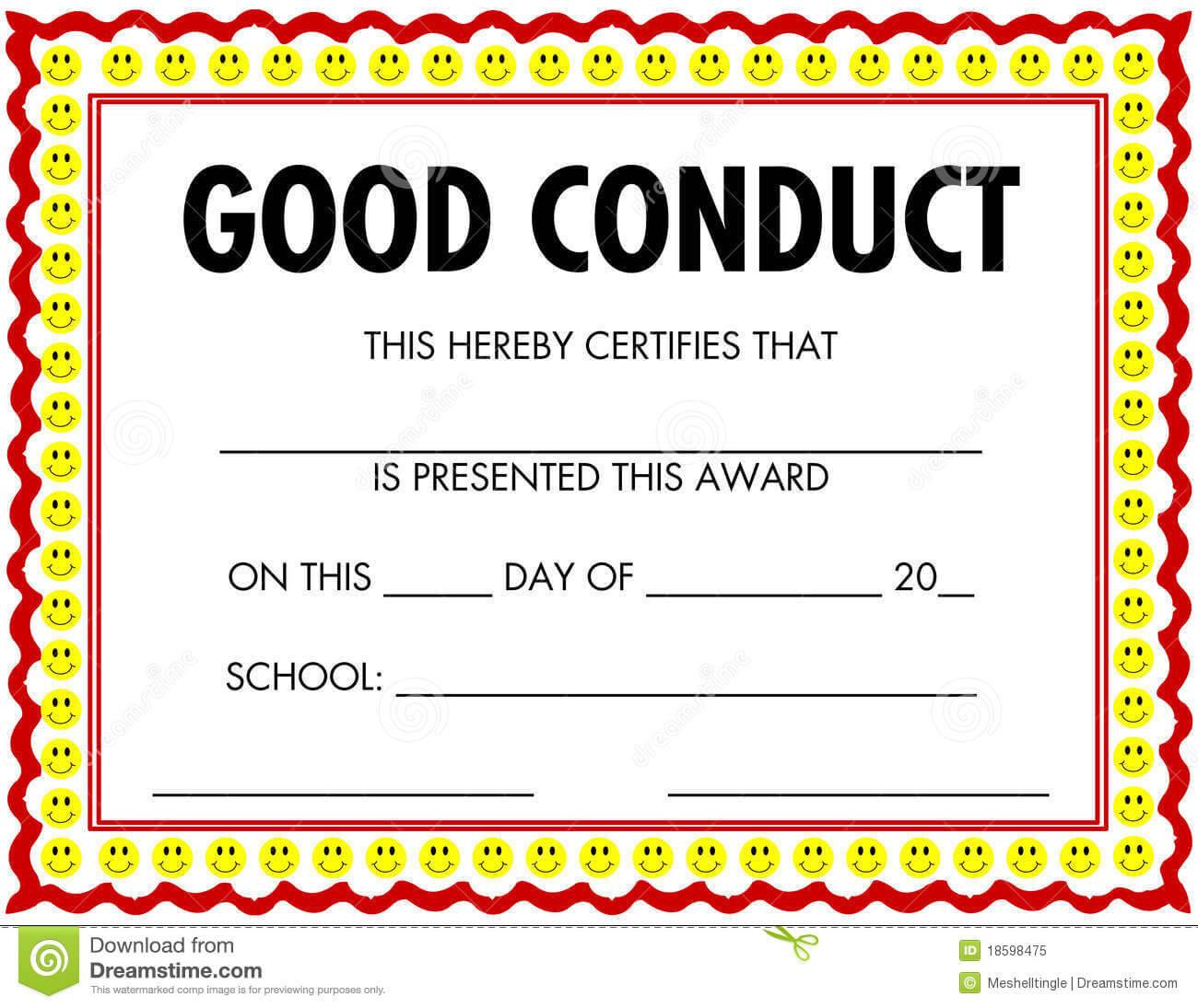 Award Certificate Good Conduct Stock Vector - Illustration Within Good Conduct Certificate Template