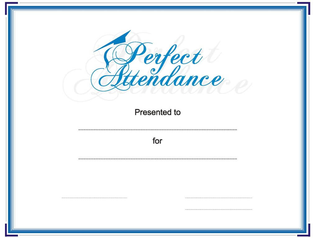 Award Your Student Or Employee For Perfect Attendance. This Within Perfect Attendance Certificate Free Template