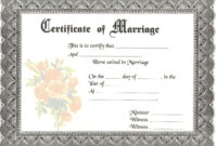 Blank Marriage Certificates | Download Blank Marriage for Blank Marriage Certificate Template