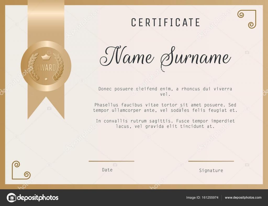 Certificate Award Template Vector Blank In Gold Colors Intended For Template For Certificate Of Award