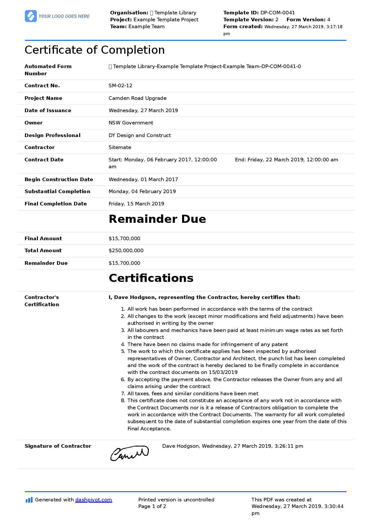 Certificate Of Completion For Construction (Free Template + In Certificate Of Completion Template Construction