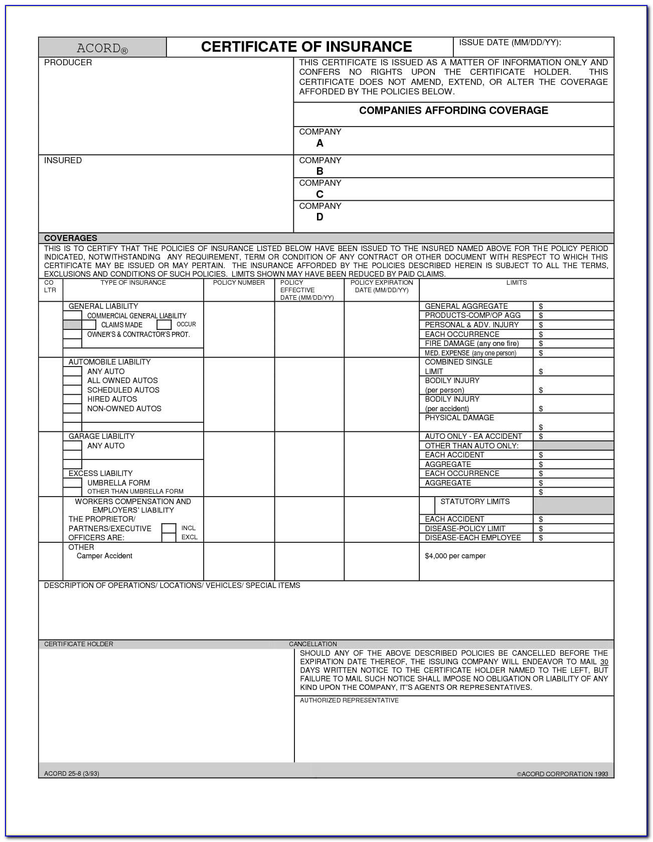 Certificate Of Liability Insurance Form Acord 25 - Form Within Acord Insurance Certificate Template