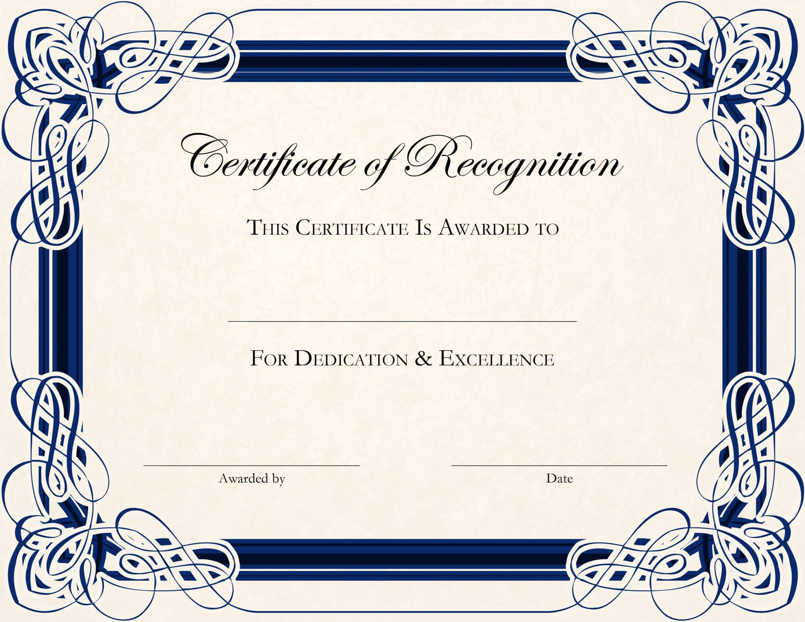 Certificate Template Designs Recognition Docs | Certificate Throughout Template For Certificate Of Award