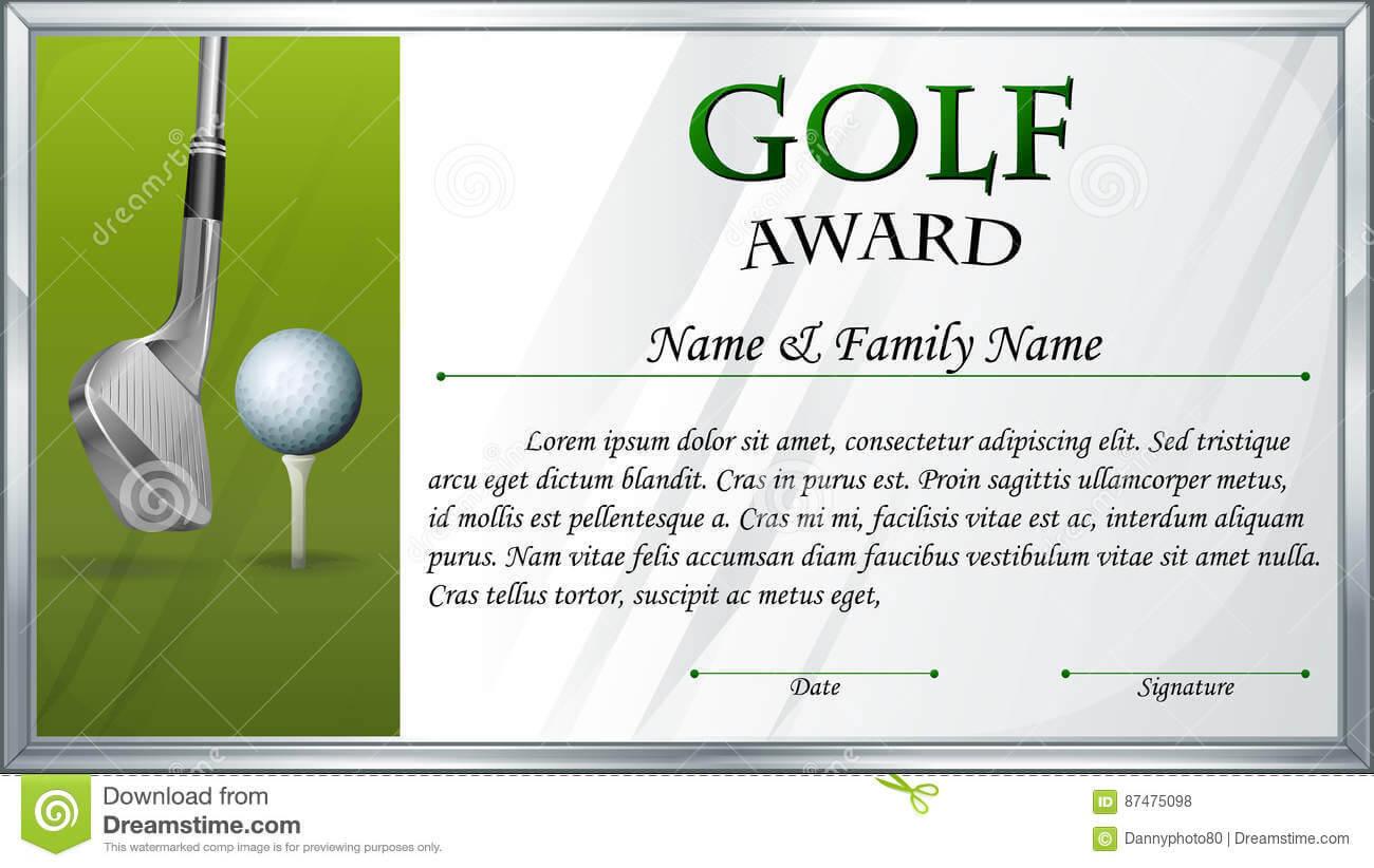 Certificate Template For Golf Award Stock Vector With Regard To Golf Certificate Template Free