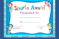 Certificate Template With Kids Swimming with regard to Free Swimming Certificate Templates
