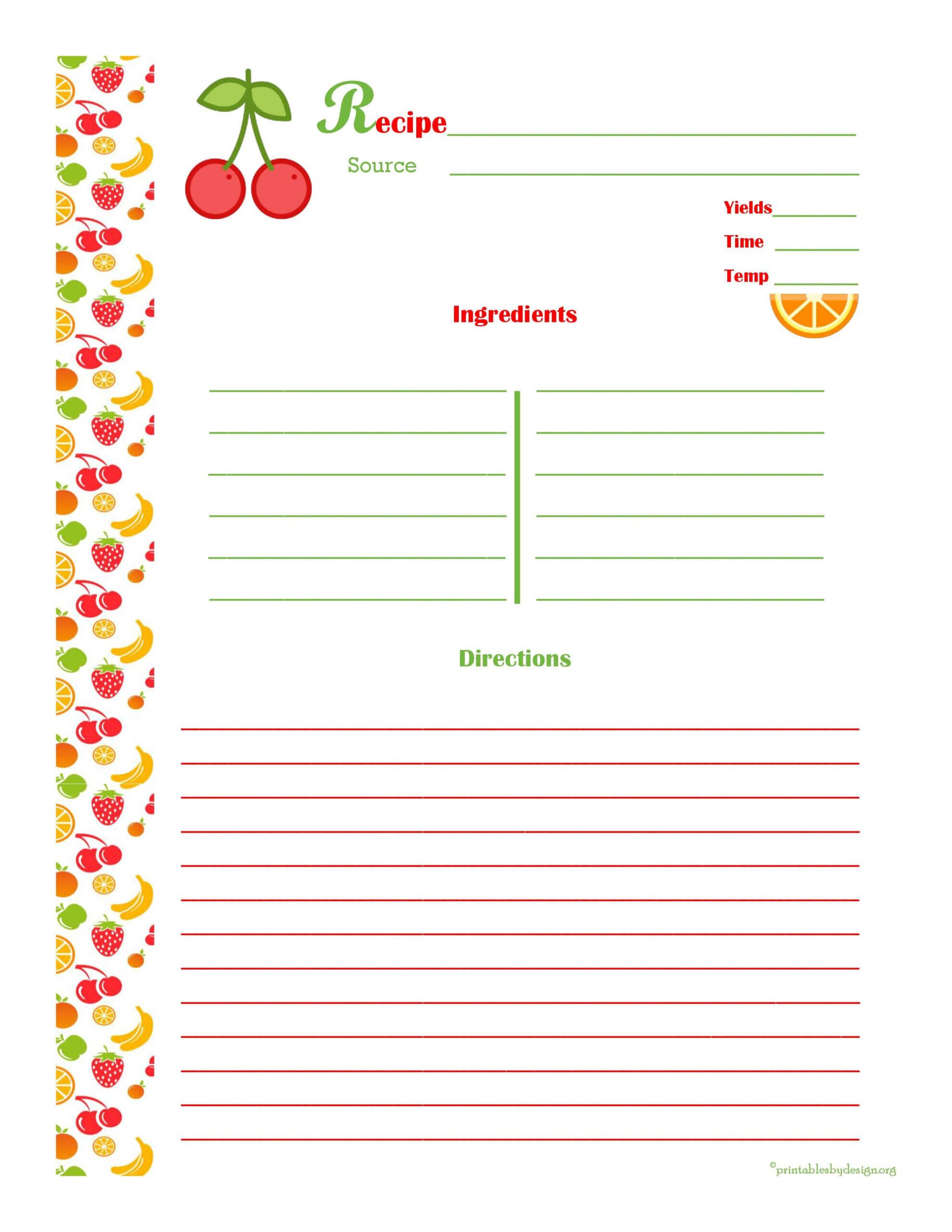 Cherry & Orange Recipe Card - Full Page | Printable Recipe With Regard To Microsoft Word Recipe Card Template