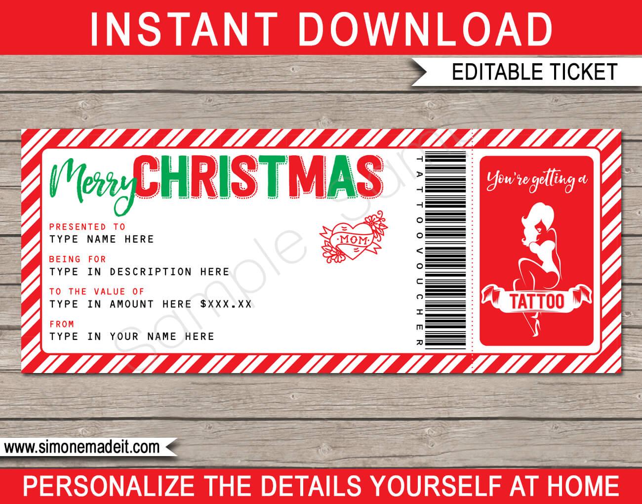 Christmas Tattoo Gift Vouchers Regarding Tattoo Gift Certificate Template