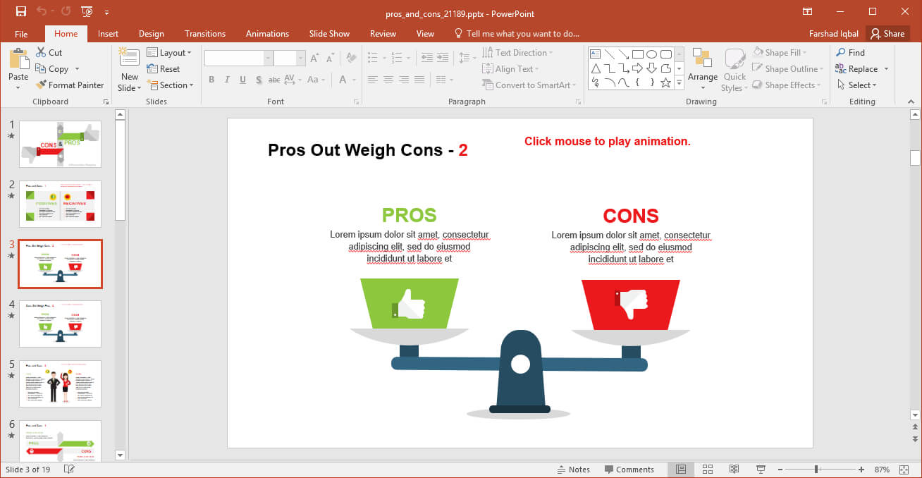 Comparing Pros And Cons Powerpoint Template Throughout Powerpoint Replace Template
