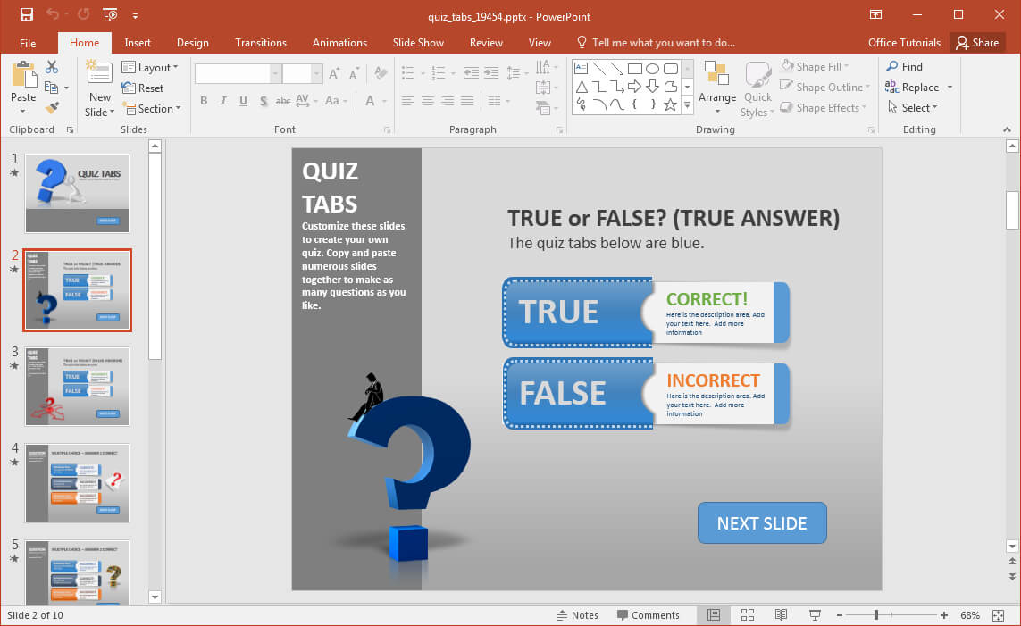 Create A Quiz In Powerpoint With Quiz Tabs Powerpoint Template Intended For Quiz Show Template Powerpoint