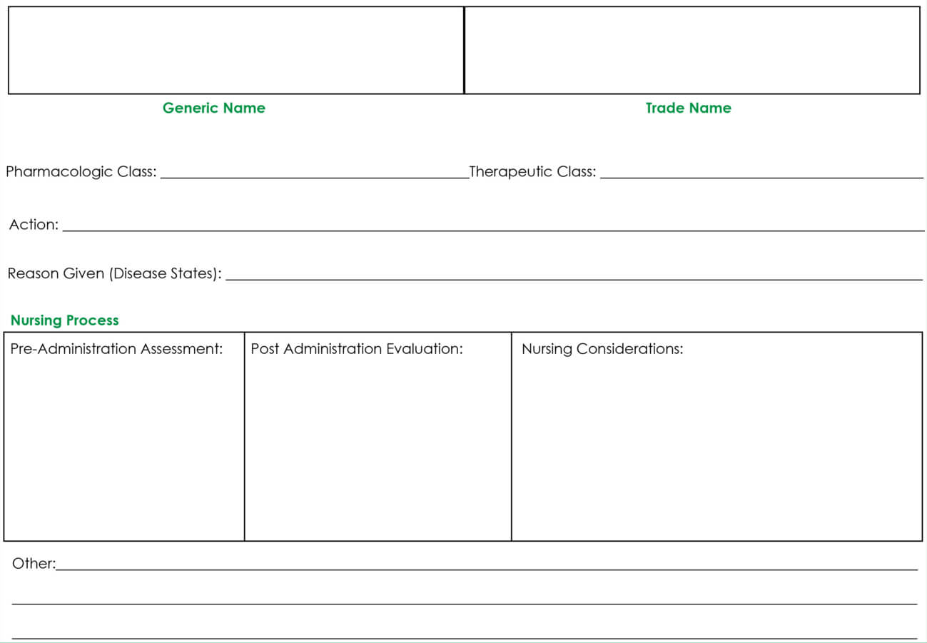 Drug Card Template | Nursing School Notes, Pharmacology Within Med Cards Template