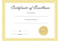 ❤️ Free Sample Certificate Of Excellence Templates❤️ within Free Certificate Of Excellence Template
