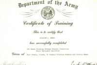 Editable Army Certificate Of Training Template with regard to Promotion Certificate Template