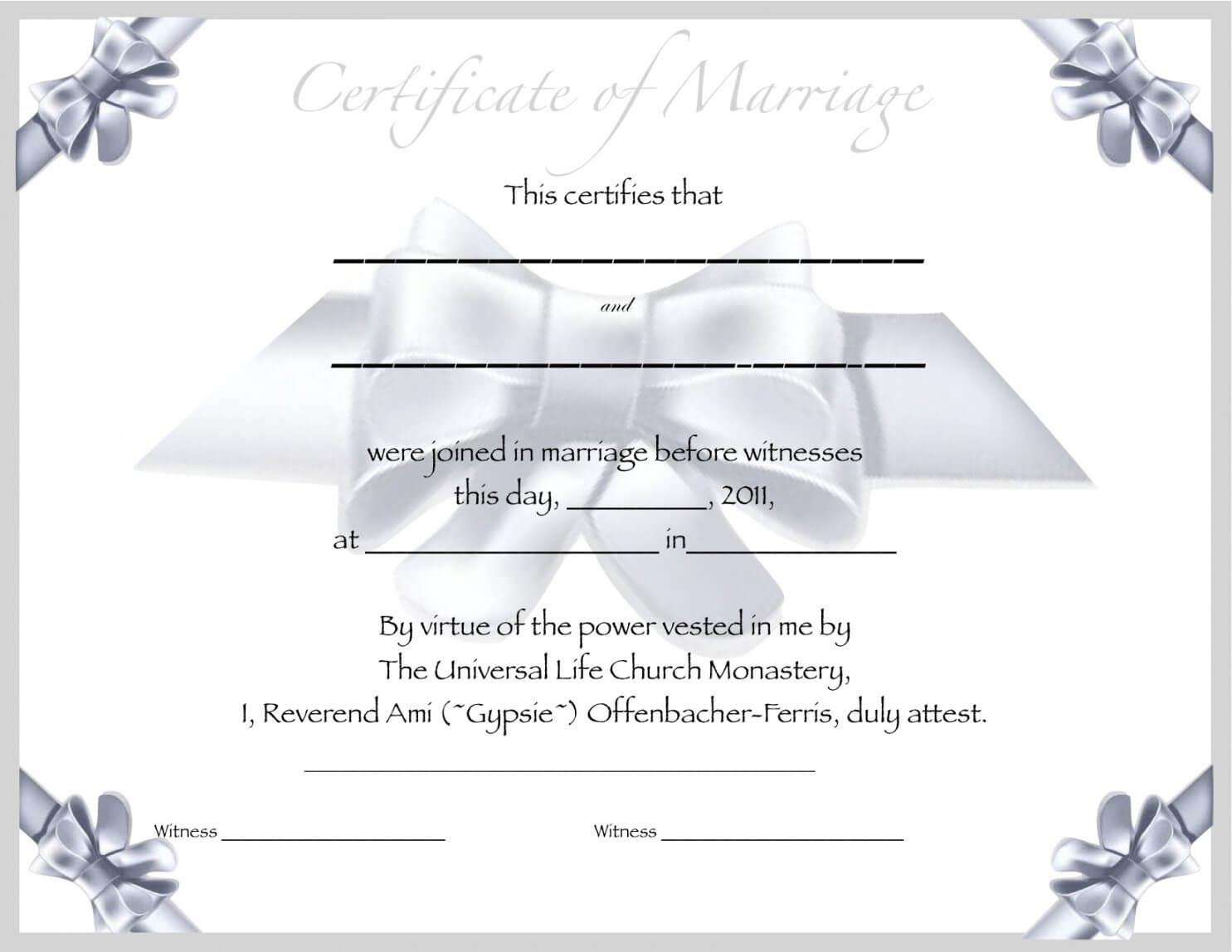 Editable Free Blank Marriage Certificate Template Regarding Blank Marriage Certificate Template