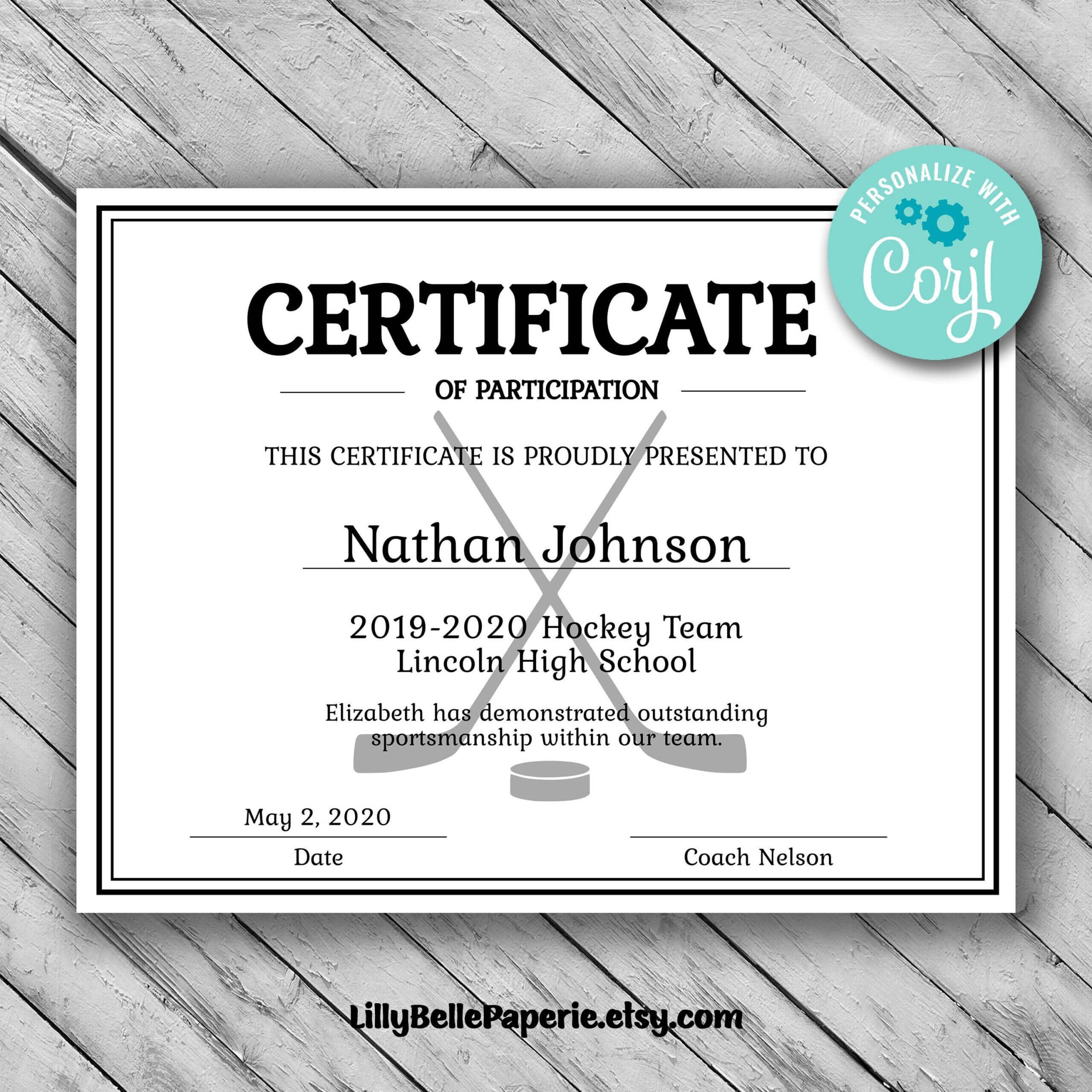 Editable Hockey Sports Team Certificate Template - Printable Intended For Hockey Certificate Templates