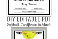 Editable Pdf Sports Team Softball Certificate Diy Award in Softball Certificate Templates