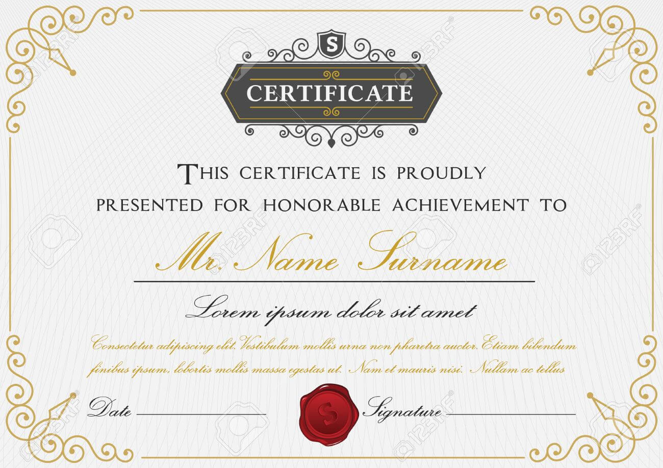 Elegant Certificate Template Design With Border, Sealing Wax.. Within Elegant Certificate Templates Free