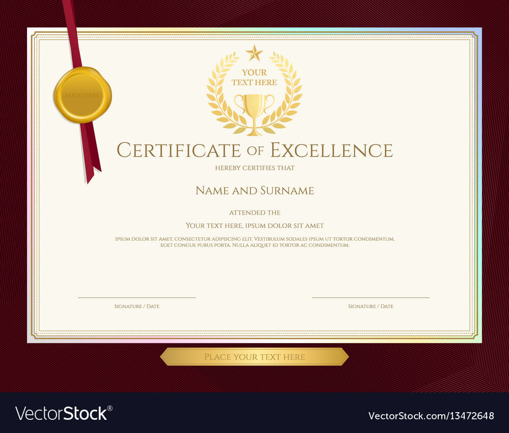 Elegant Certificate Template For Excellence Intended For Elegant Certificate Templates Free