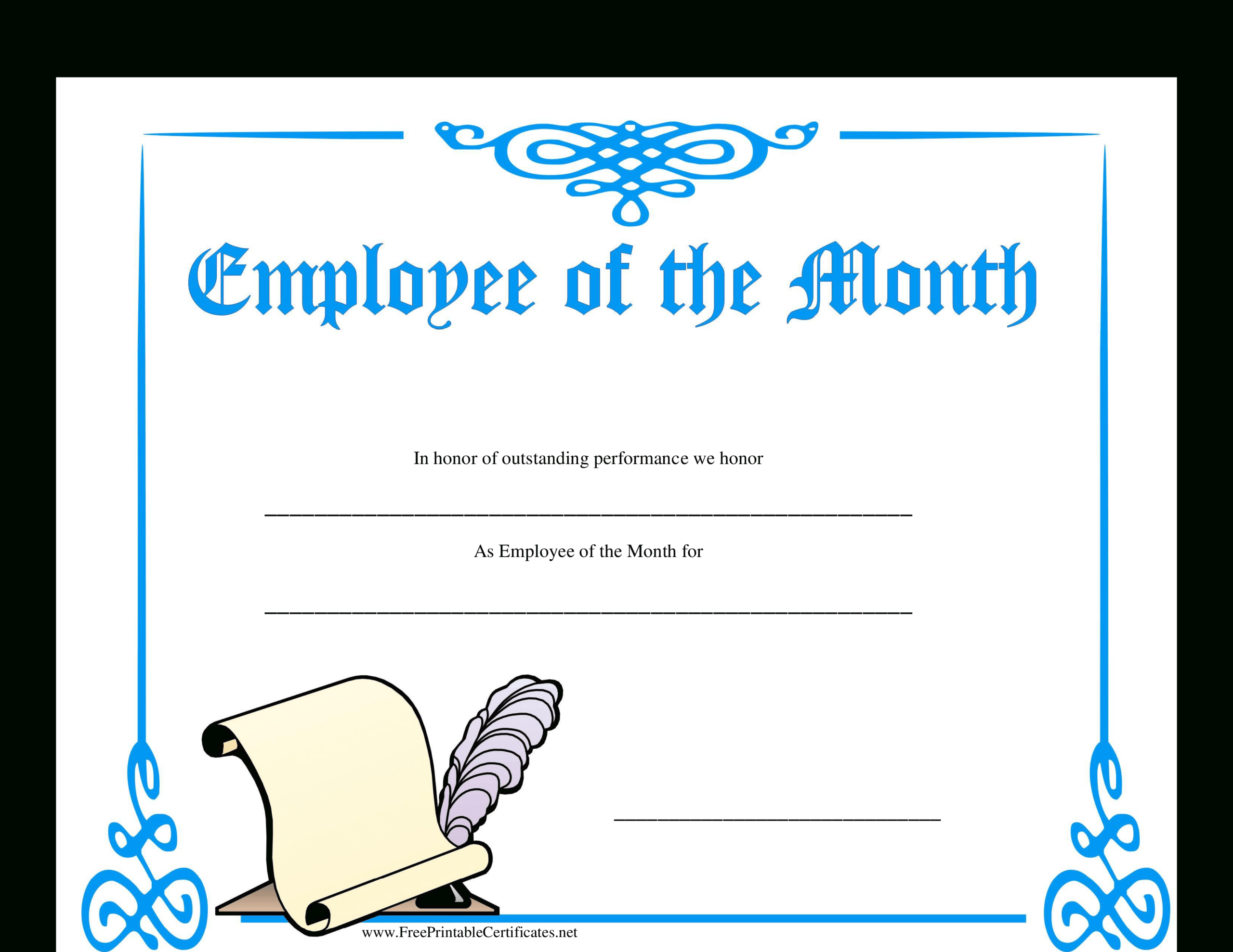 Employee Of The Month Certificate | Templates At Inside Employee Of The Month Certificate Template With Picture