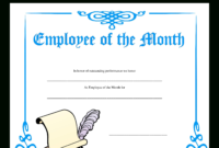 Employee Of The Month Certificate | Templates At with Employee Of The Month Certificate Template