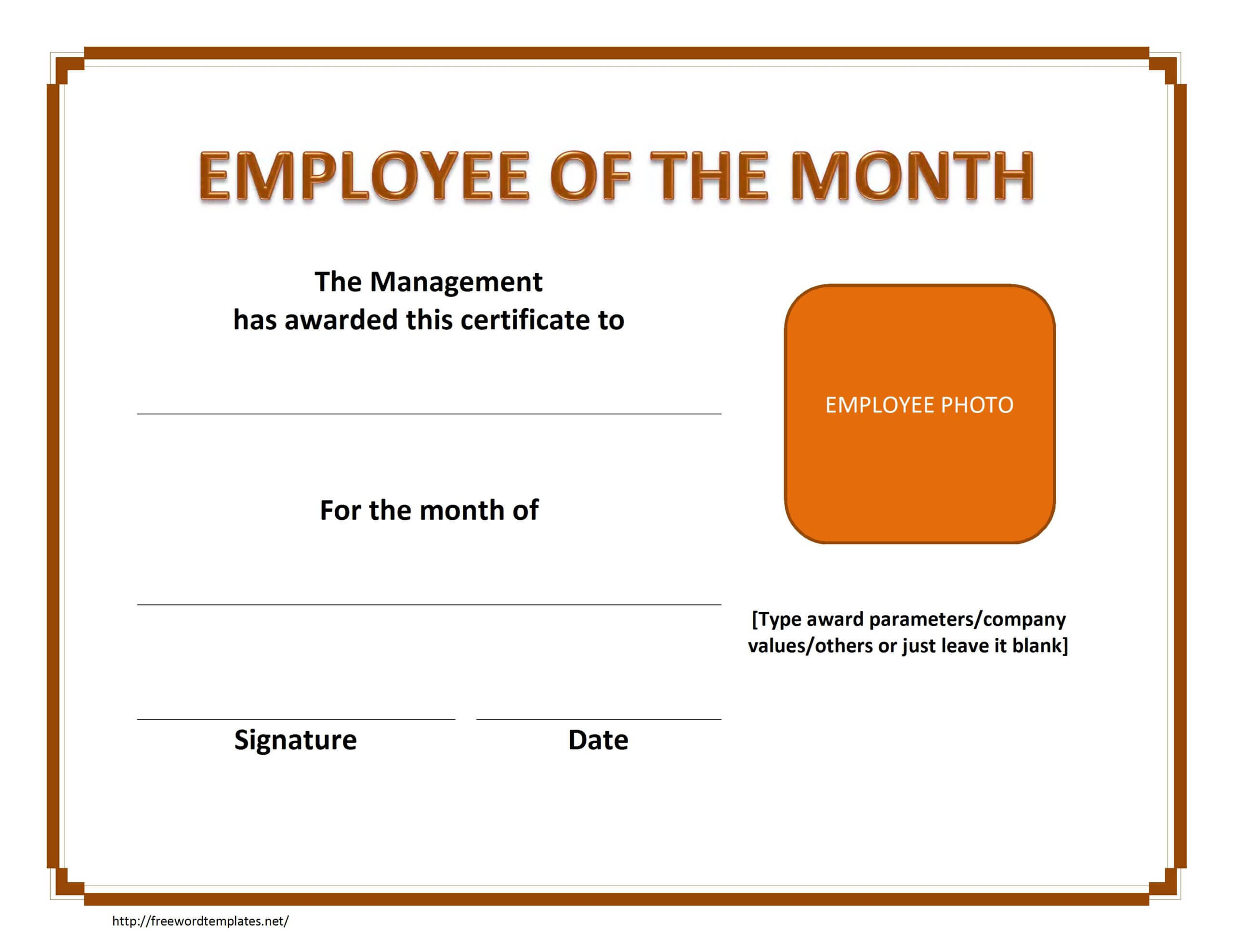 Employee The Month Certificate Template Free Microsoft Word Pertaining To Employee Of The Month Certificate Template With Picture