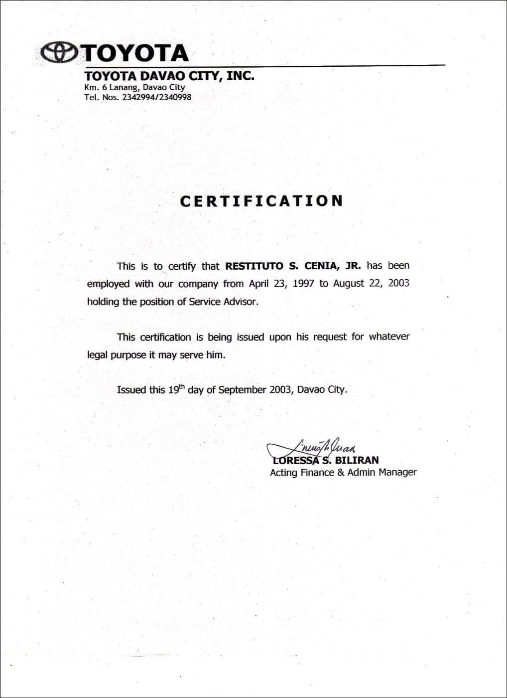 Employment Certificate Sample Best Templates Pinterest For Employee Certificate Of Service Template
