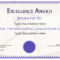 Excellence Award Certificate   Templates At Regarding Life Saving Award Certificate Template