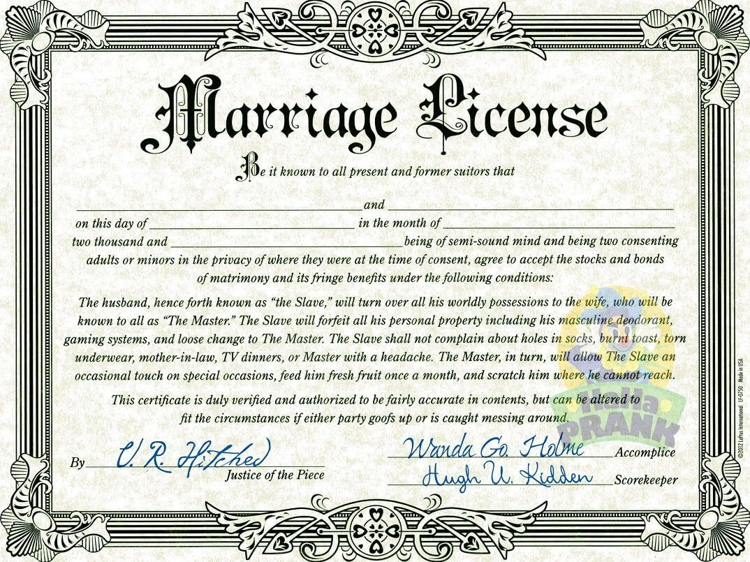 Fake Marriage Certificate   Marriage Certificate, Marriage Throughout Blank Marriage Certificate Template