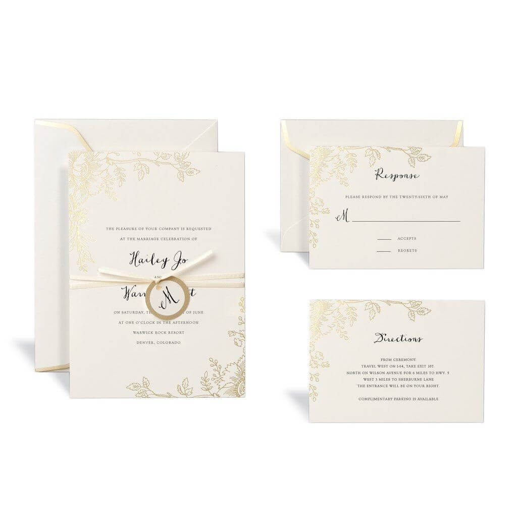 Floral Gold Wedding Invitation Kitcelebrate It Pertaining To Celebrate It Templates Place Cards
