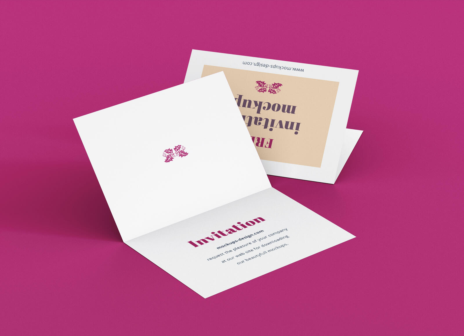Free A7 Bi Fold Greeting / Invitation Card Mockup Psd Set For Card Folding Templates Free