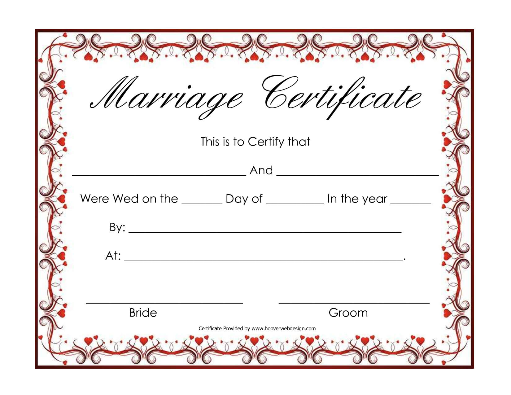 Free Blank Marriage Certificates | Printable Marriage Intended For Blank Marriage Certificate Template