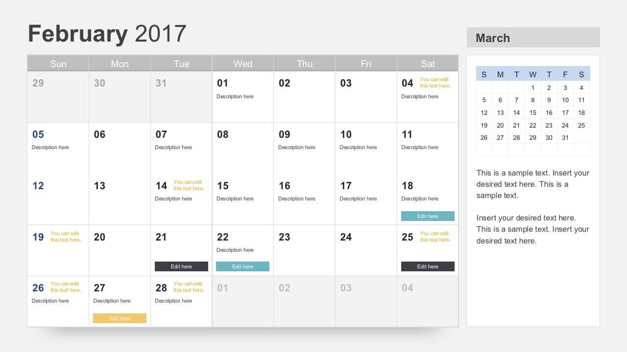 Free Calendar 2017 Template Throughout Microsoft Powerpoint Calendar Template