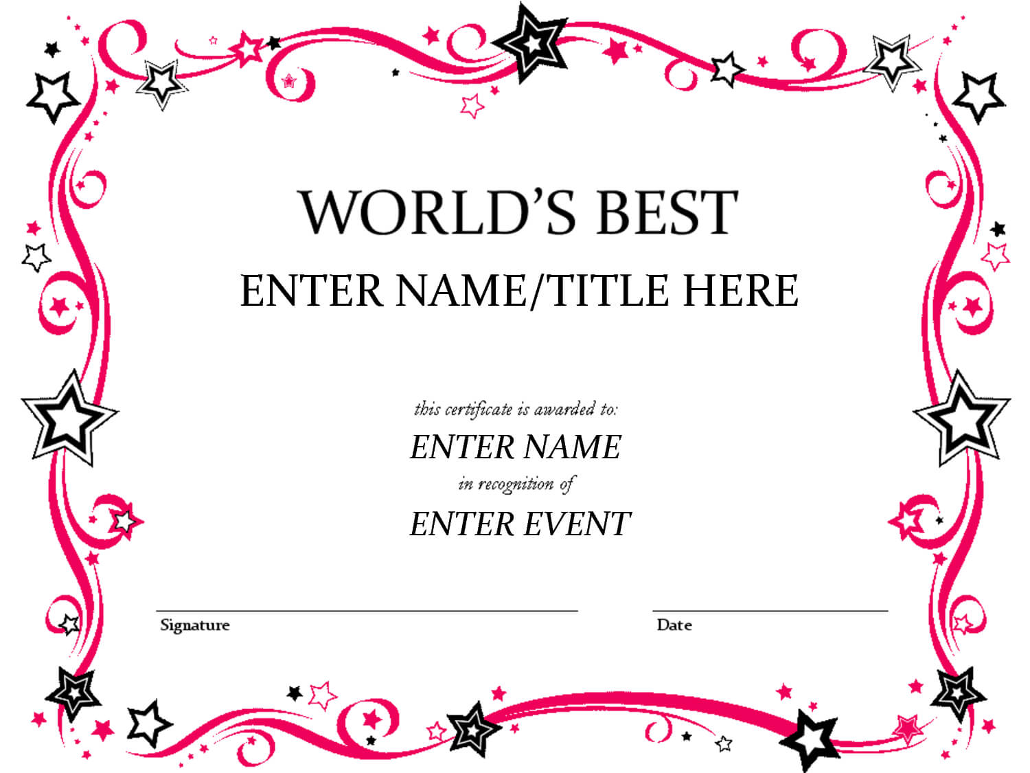 Free Funny Award Certificates Templates | Worlds Best Custom Throughout Free Printable Funny Certificate Templates