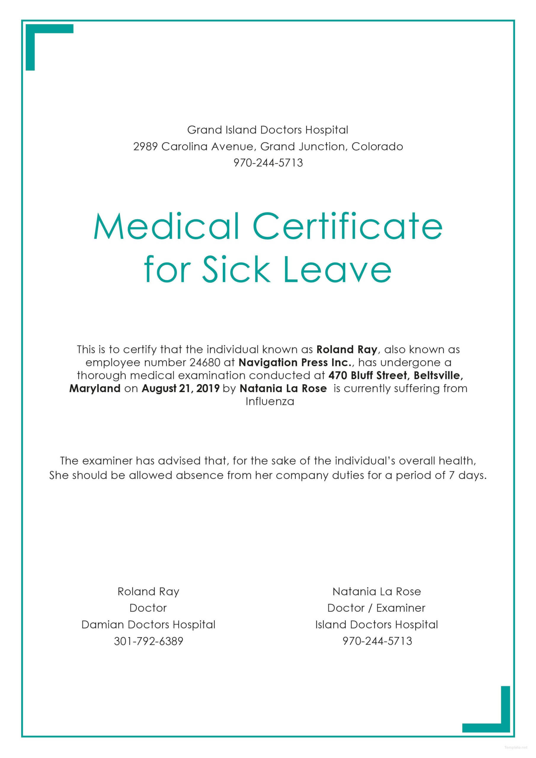 Free Medical Certificate For Sick Leave | Medical Within Free Fake Medical Certificate Template