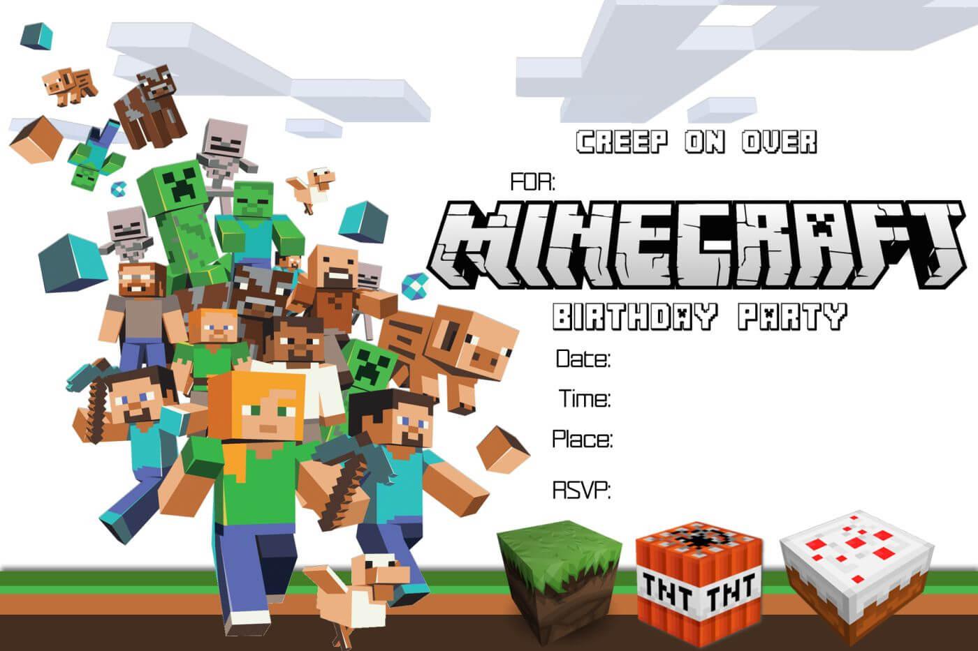 Free Minecraft Birthday Invitation Printable Within Minecraft Birthday Card Template