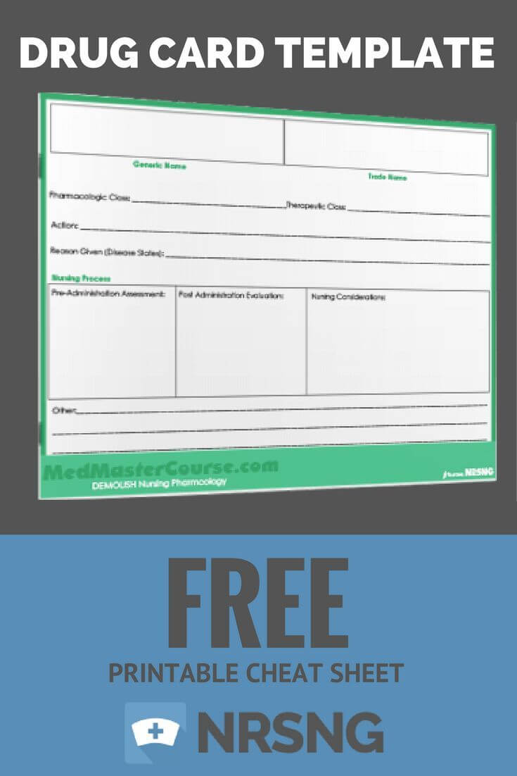 Free Printable Cheat Sheet | Drug Card Template | Nursing For Med Card Template