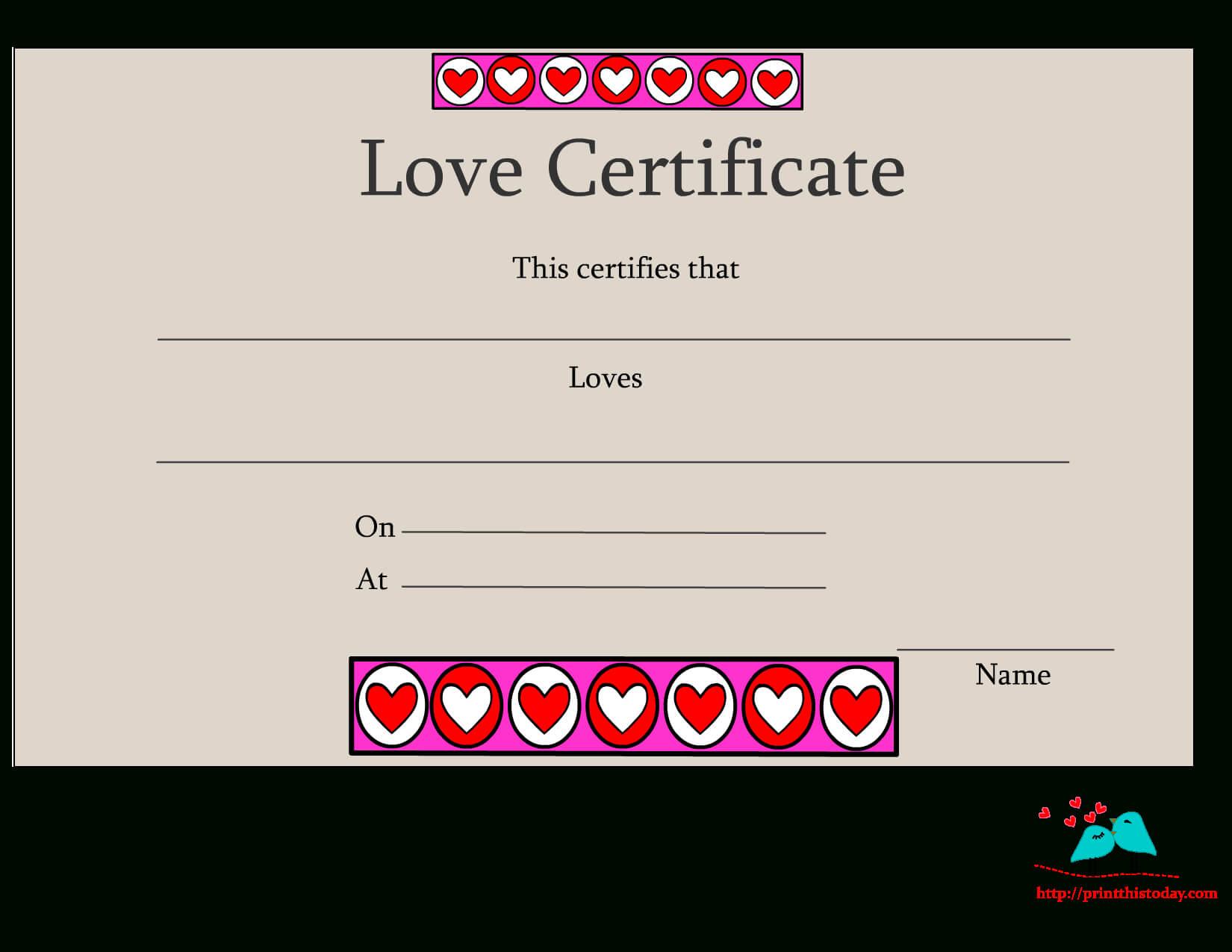 Free Printable Love Certificates In Love Certificate Templates