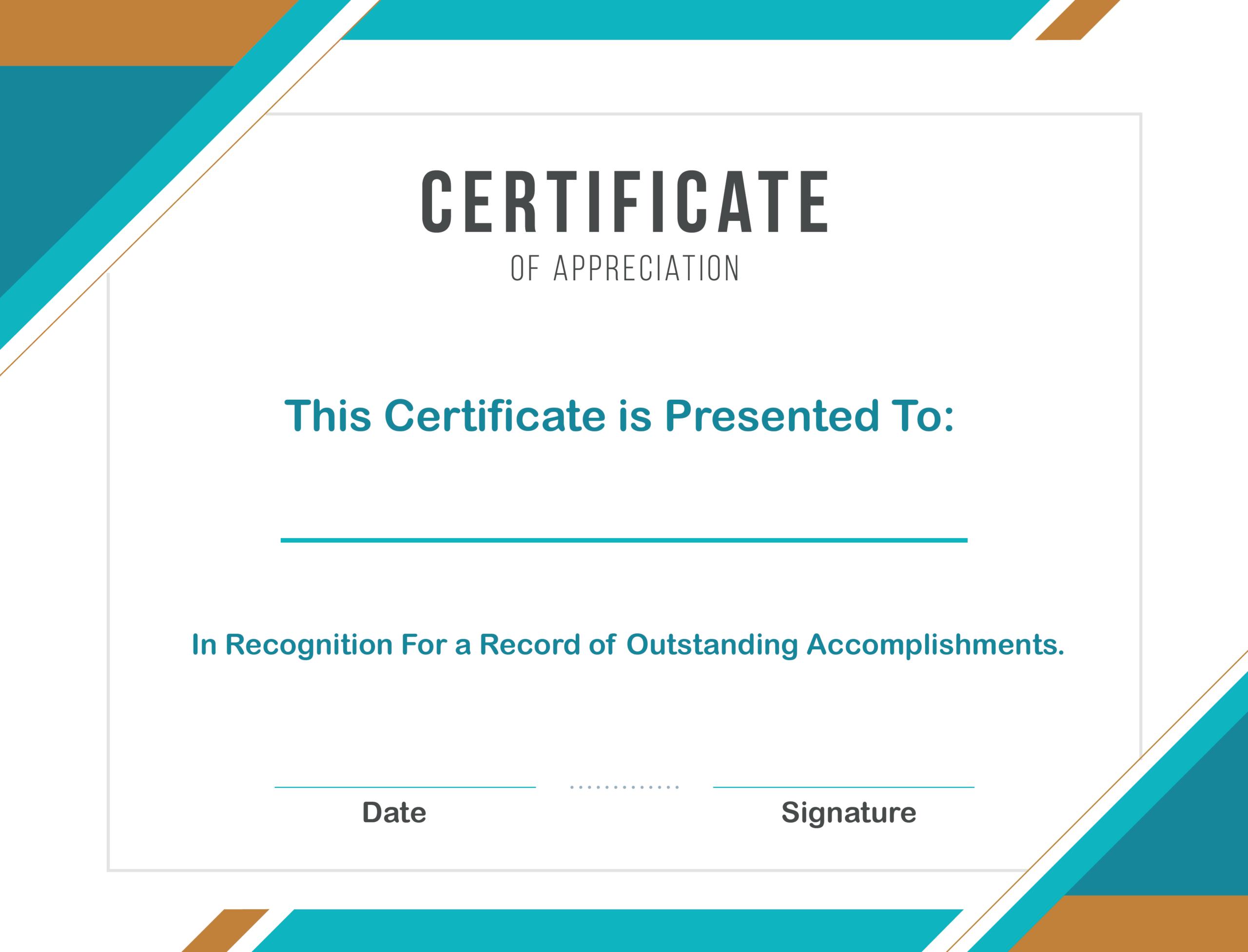 Free Sample Format Of Certificate Of Appreciation Template With Template For Certificate Of Award