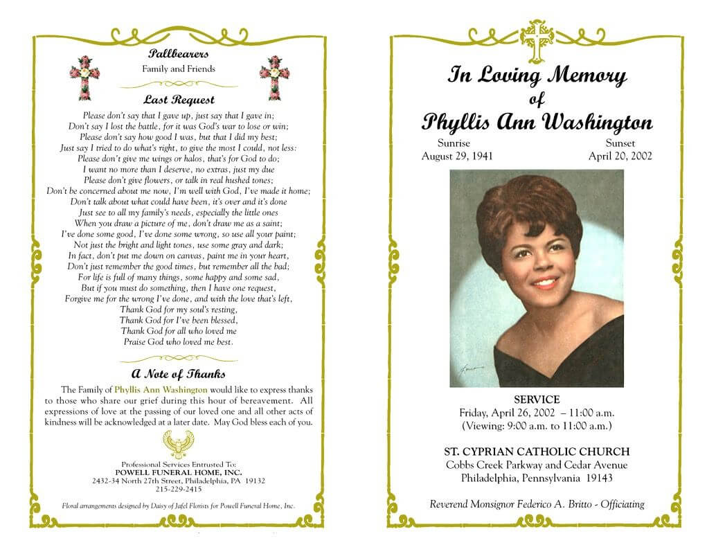 Funeral Program Template Sample Free Loving Memory Templates Inside Memorial Cards For Funeral Template Free
