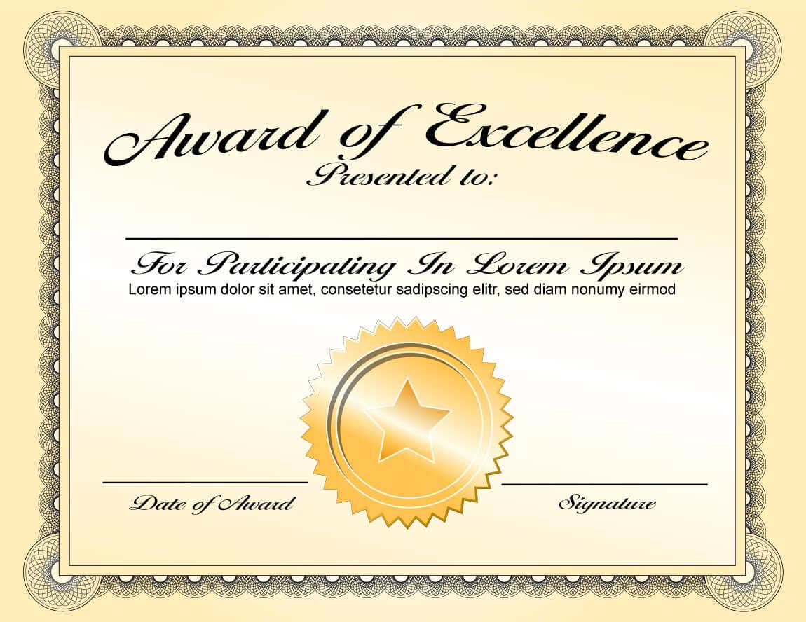 Generic Award Certificate In Vector Format - Trashedgraphics Regarding Generic Certificate Template